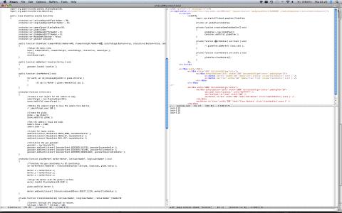 emacsでの開発の様子